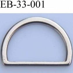 Boucle etrier anneau demi rond métal couleur chromé brillant largeur extérieur 3.3 cm intérieur 2.7 cm hauteur 2.2 cm