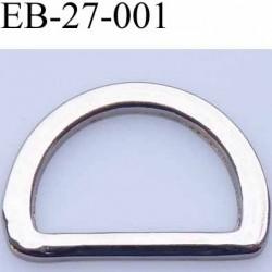 Boucle etrier anneau demi rond métal couleur chromé brillant largeur extérieur 2.7 cm intérieur 2 cm hauteur 1.8 cm