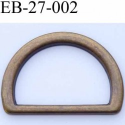 Boucle etrier anneau demi rond métal couleur laiton aspcect vieilli largeur extérieur 2.7 cm intérieur 2 cm hauteur 1.8 cm