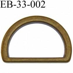 Boucle etrier anneau demi rond métal couleur bronze vieilli largeur 3.3 cm intérieur 26 mm idéal pour sangle 25 mm hauteur 23 mm