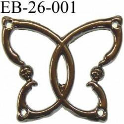 Papillon en acier bleuté chromé superbe avec 4 trous aux angles largeur 26 mm hauteur 23 mm