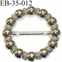 Boucle étrier anneau  métal chromé diamètre extérieur 3.5 cm diamètre intérieur 2.1 cm idéal  sangle de 20 mm épaisseur 4 mm