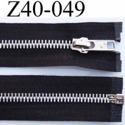fermeture zip longueur 40 cm couleur noir séparable largeur 3 cm zip glissière métal largeur 6 mm