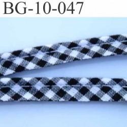 biais galon ruban passe poil 100 % coton couleur noir et blanc avec cordon  intérieur coton 7 fils largeur 10 mm prix au mètre