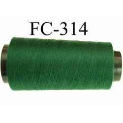 Cone ( Economique ) de fil  polyester  fil n°120 couleur vert foncé longueur 1000 mètres bobiné en France