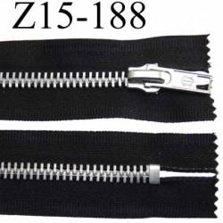 fermeture zip à glissière  longueur 15 cm couleur noir non  séparable largeur 3 cm glissière métal largeur 6 mm