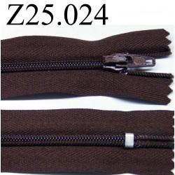 fermeture éclair 25 cm couleur marron non séparable zip nylon