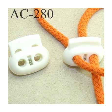 arrêt cordon  stop cordon ovale blanc largeur 25 mm hauteur 23 mm épaisseur 10 mm idéal pour cordon de 5 mm prix à la pièce