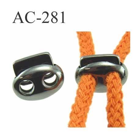 arrêt  stop cordon oval  deux trous en métal  à ressort couleur acier anthracite chromé de taille 18 mm x 15 mm  prix à l'unité