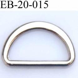 Boucle etrier anneau demi rond métal couleur chromé brillant largeur extérieur 2 cm intérieur 1.6 cm hauteur 1.3 cm
