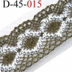 dentelle crochet en coton et synthétique largeur 43 mm couleur noir vieille or doré et blanc