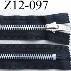 fermeture zip à glissière  longueur 12 cm couleur noir non  séparable largeur 3 cm glissière métal largeur 6 mm