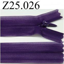 fermeture éclair invisible 25 cm couleur violet non séparable zip nylon