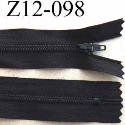 fermeture zip  à glissière longueur 12 cm couleur noir anthracite non séparable largeur 2.5 cm glissière nylon  zip du 4 mm
