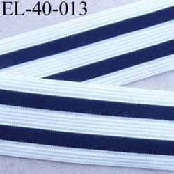 élastique plat belle qualité  couleur blanc et bleu marine à rayures largeur 40 mm prix au mètre