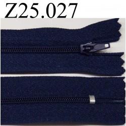 fermeture éclair  25 cm couleur bleu non séparable zip nylon