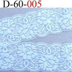 dentelle blanche largeur 60 mm synthétique lycra élastique couleur blanc lumineux douce et souple prix au mètre