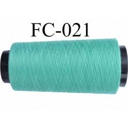 Cone de fil polyester fil n°120 couleur vert longueur du cone 5000 mètres bobiné en France