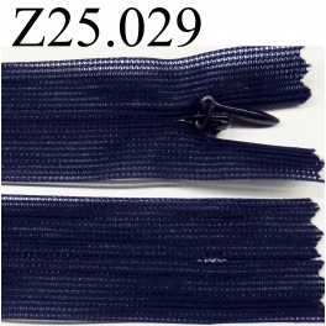 fermeture éclair invisible 25 cm couleur bleu non séparable zip nylon