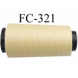 Cone de fil polyester n° 120 couleur jaune clair longueur 1000 mètres  bobiné en France