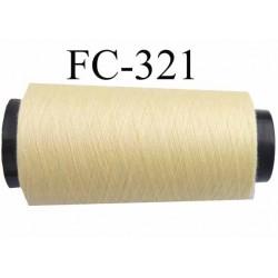 Cone de fil polyester n° 120 couleur jaune clair longueur 2000 mètres  bobiné en France