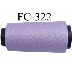 Cone de fil polyester n° 120 couleur lilas parme longueur 1000 mètres  bobiné en France