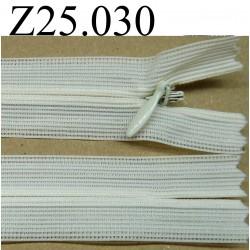 fermeture éclair invisible 25 cm couleur blanc cassé non séparable zip nylon