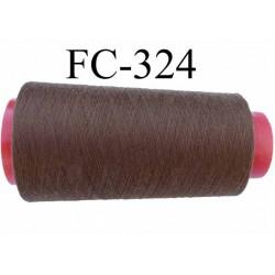 Cone ( économique )  de fil polyester n° 120 couleur marron  longueur 1000 mètres  bobiné en France