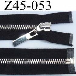 Fermeture zip noir glissière en métal nickel chromé brillant largeur 3 cm largeur glissière 6 mm curseur métal très belle