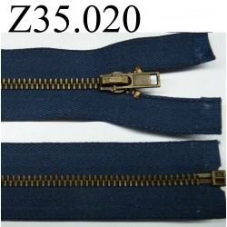 fermeture éclair  35 cm couleur bleu  séparable zip métal largeur 3 cm largeur du zip 4.5mm