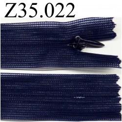 fermeture éclair invisible longueur 35 cm couleur bleu non  séparable zip nylon  largeur 2.5 cm
