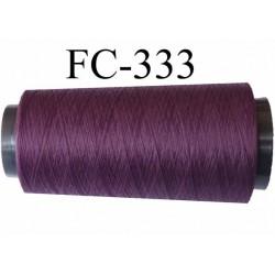 Cone de fil mousse texturé polyester fil n°120 couleur prune  longueur  1000 mètres bobiné en France