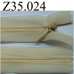 fermeture éclair invisible longueur 35 cm couleur jaune orangé beige non  séparable zip nylon  largeur 2.5 cm