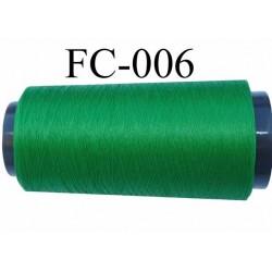 Cone de fil mousse texturé polyester fil n° 160 couleur vert longueur 2000 mètres bobiné en France