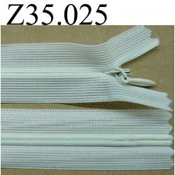 fermeture éclair invisible longueur 35 cm couleur blanc cassé non  séparable zip nylon  largeur 2.5 cm