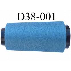 Cone ( en Destockage ) de fil  polyester  fil n° 70/2 couleur bleu longueur du cone 1000 mètres bobiné en France