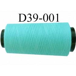 Cone ( en Destockage ) de fil  polyester  fil n° 70/2 couleur vert lagon longueur du cone 1000 mètres bobiné en France