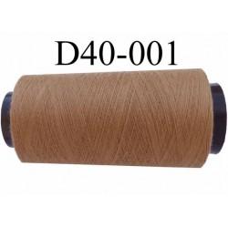 Cone ( en Destockage ) de fil  polyester  fil n° 70/2 couleur beige foncé longueur du cone 1000 mètres bobiné en France