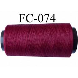 Cone de fil mousse texturé polyester fil n°120 couleur bordeau  longueur  2000 mètres bobiné en France