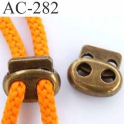 arrêt  stop cordon oval  deux trous en métal  à ressort couleur laiton vieilli de taille 18 mm x 15 mm  prix à l'unité