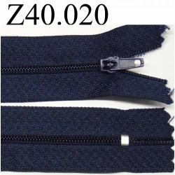 fermeture éclair longueur 40 cm bleu foncé non séparable zip nylon largeur 2.5 cm