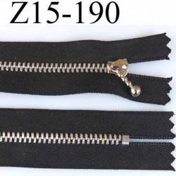 fermeture zip à glissière  longueur 15 cm couleur noir non  séparable largeur 2.6 cm glissière métal largeur 4.5 mm