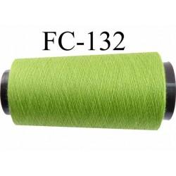 cone bobine de fil polyester fil n°120 couleur vert longueur du cone 2000 mètres bobiné en France
