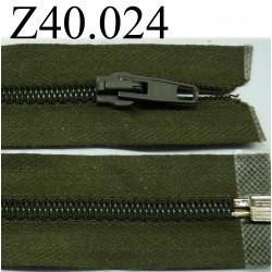 fermeture éclair longueur 40 cm couleur vert kaki séparable zip nylon largeur 3.2 cm largeur du zip 5 mm