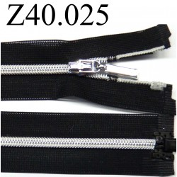 fermeture éclair invisible longueur 40 cm couleur noir séparable zip nylon largeur 2.5 cm largeur du zip 4 mm
