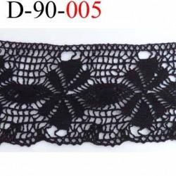 dentelle noir crochet  100% coton très belle motif fleur largeur 90 mm couleur noir souple  prix au mètre