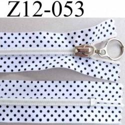 fermeture zip à glissière12 cm blanc a point noir non séparable glissière nylon largeur 3 cm largeur glissière 6 mm curseur