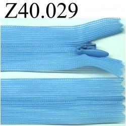 fermeture éclair invisible longueur 40 cm couleur bleu non séparable zip nylon largeur 2.3 cm