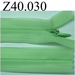fermeture éclair invisible longueur 40 cm couleur vert non séparable zip nylon largeur 2.3 cm