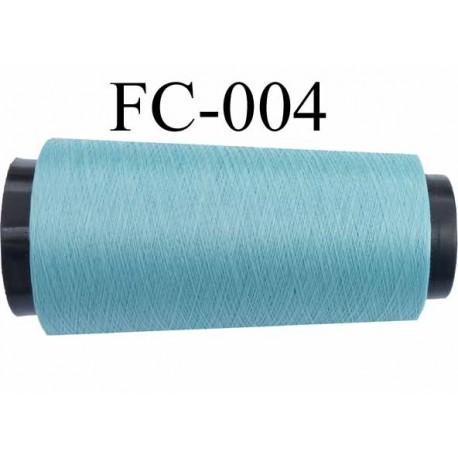 Cone bobine de fil polyester continu fil n° 120/3 couleur bleu longueur du cone 2000  mètres bobiné en france